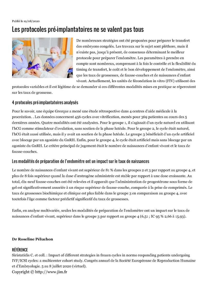 JIM.fr - Les protocoles pré-implantatoires ne se valent pas tous