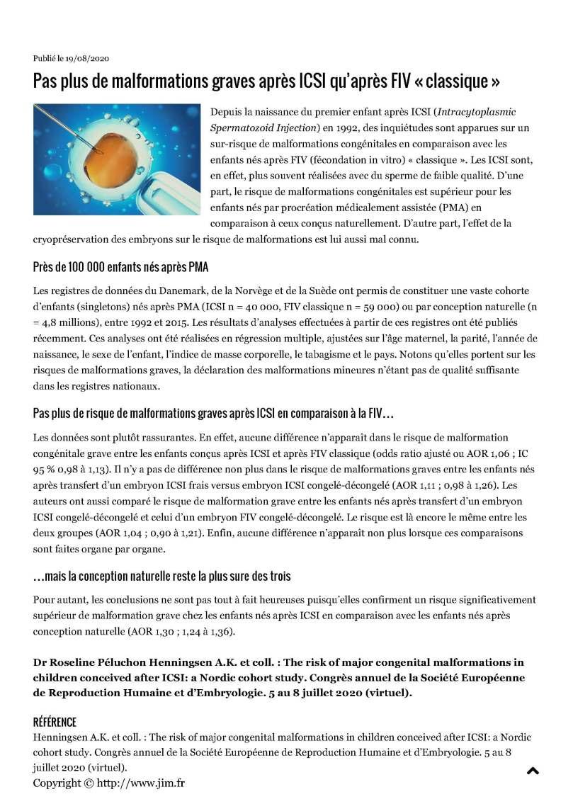 JIM.fr - Pas plus de malformations graves après ICSI qu'après FIV « classique »